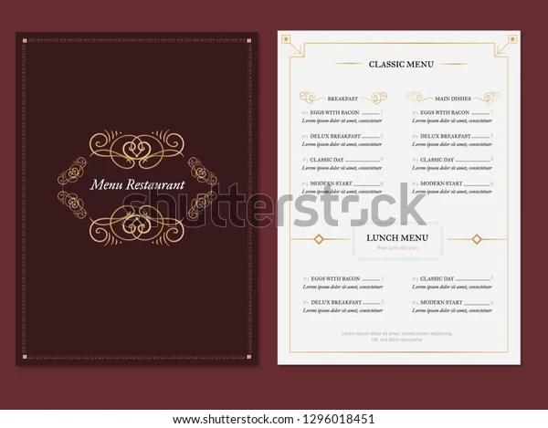 https www shutterstock com image vector vintage elegant menu template background restaurant 1296018451
