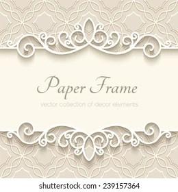 Vintage Vector Background With Paper Border Decoration Divider Header Ornamental Frame Template Greenery Greeting Invitation Card Design