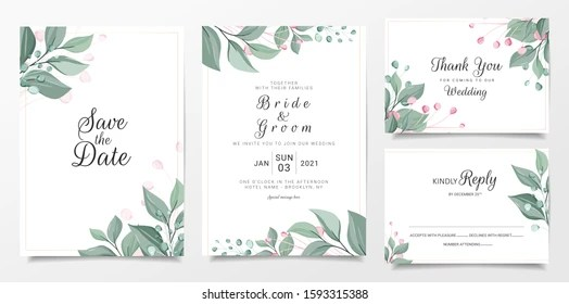 https www shutterstock com image vector wedding invitation card template set elegant 1593315388