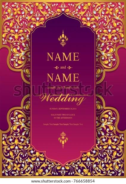 https www shutterstock com image vector wedding invitation card templates gold patterned 766658854