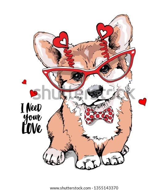 Download Welsh Corgi Puppy Fun Glasses Red Stock Vector (Royalty ...