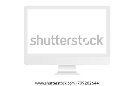 White Computer Monitor I Mac Mockup Blank Stock Vector Royalty Free