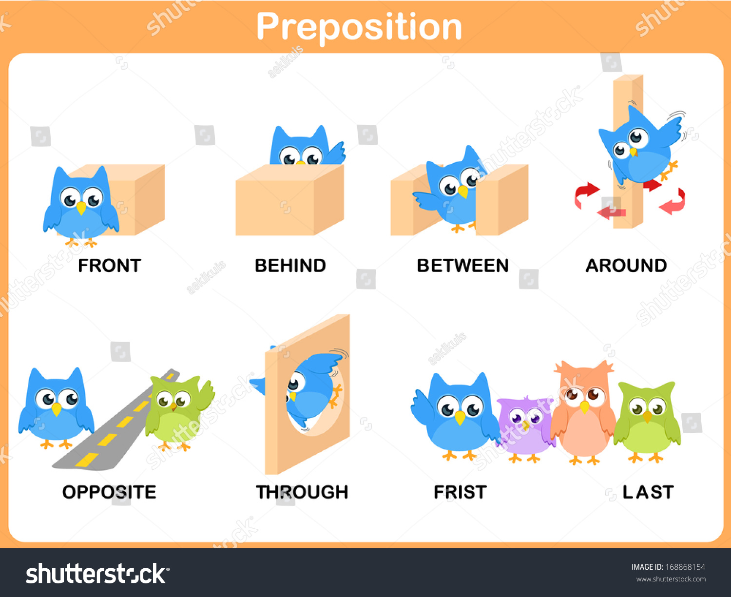 Preposition Of Motion For Preschool Stock Photo