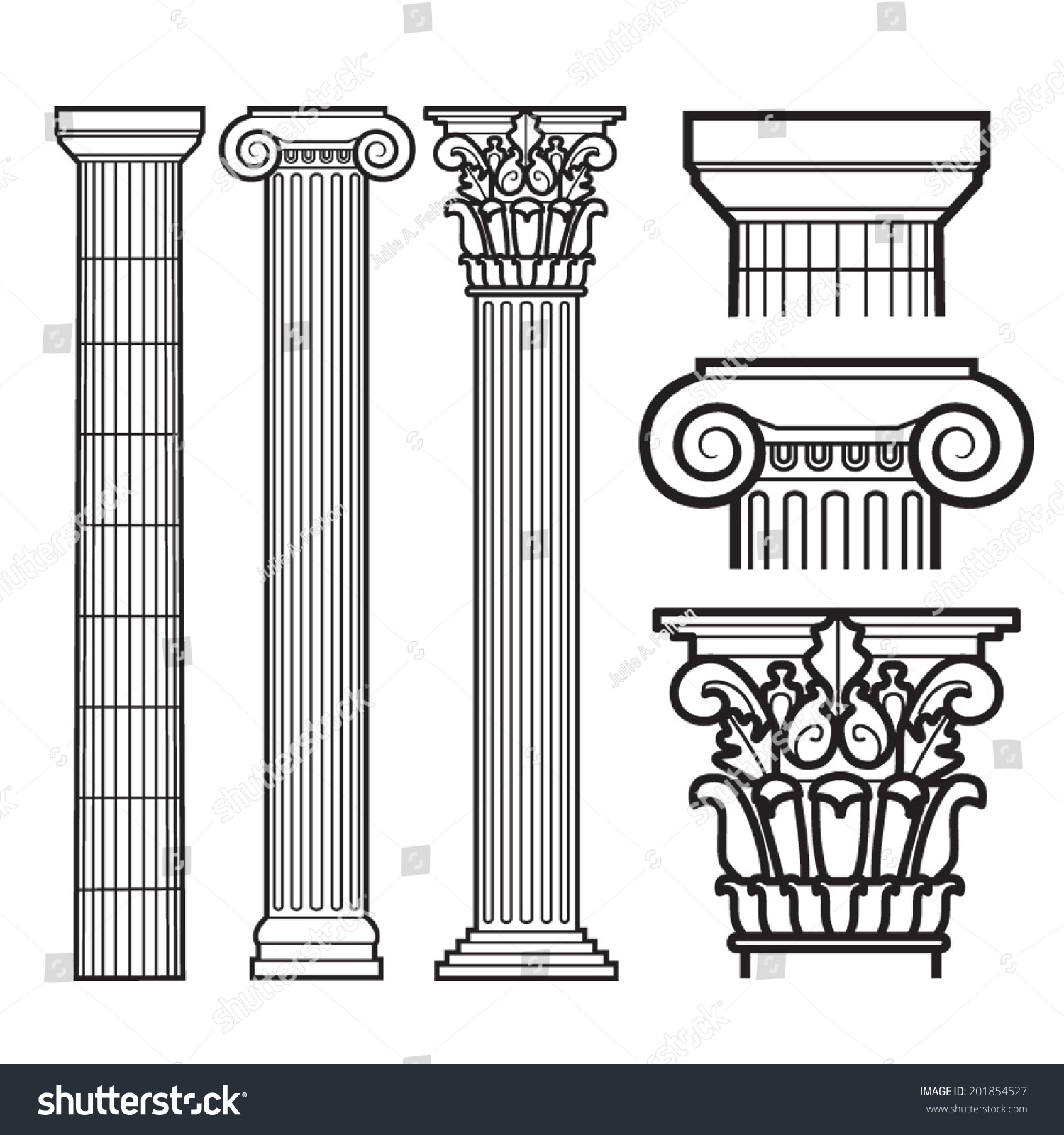 Set Of Doric Ionic And Corinthian Stock Photo