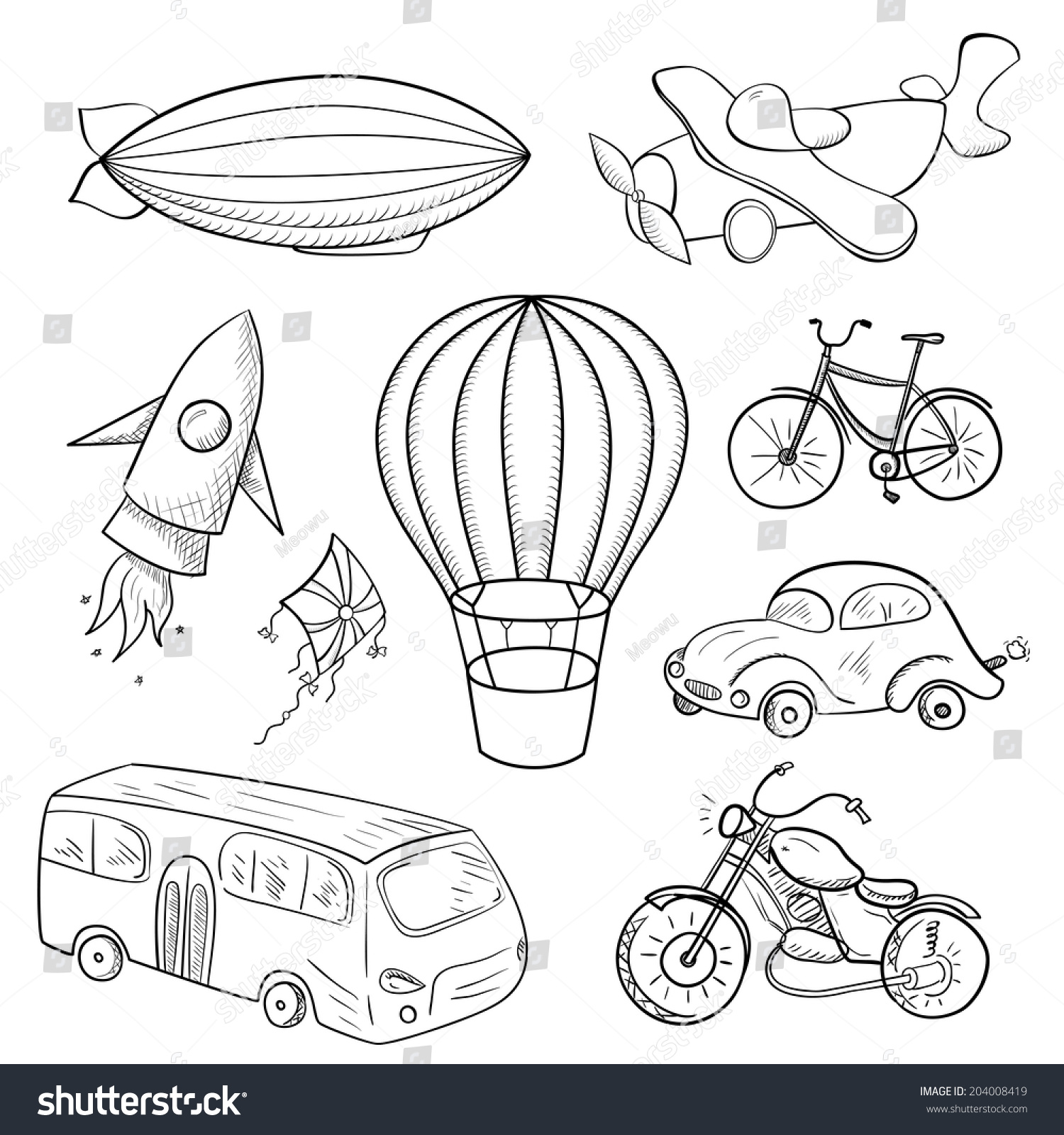 Sketches Means Of Transport Black And Stock Photo