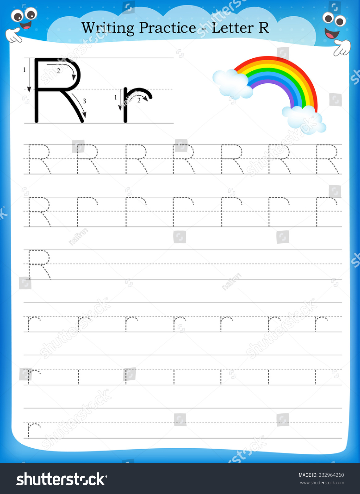 Writing Practice Letter R Printable Stock Photo