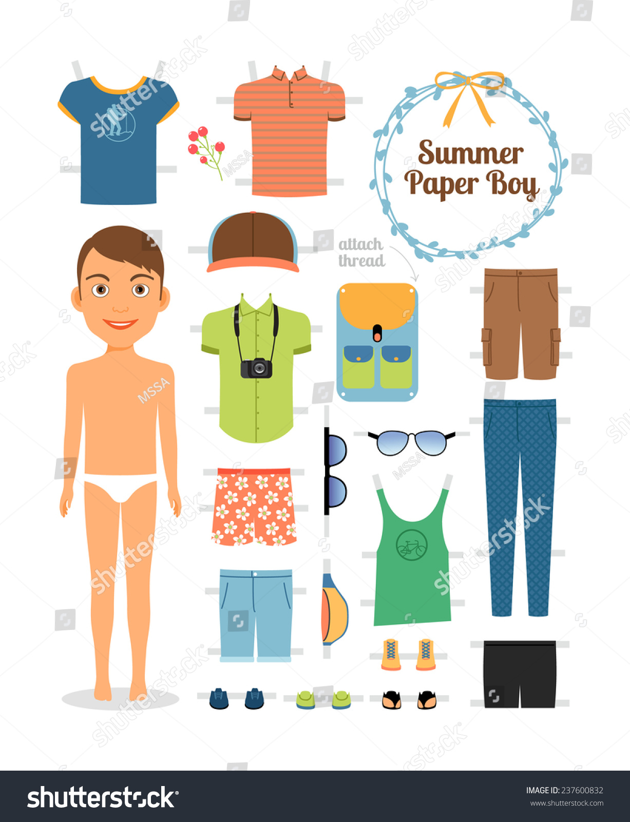 Paper Doll Boy In Summer Clothes And Stock Photo