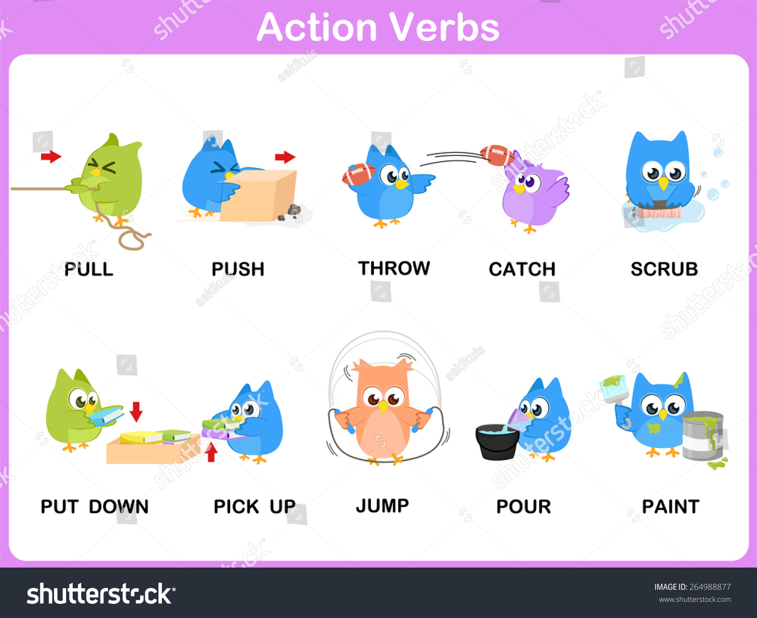 Action Verbs Picture Dictionary Stock Photo