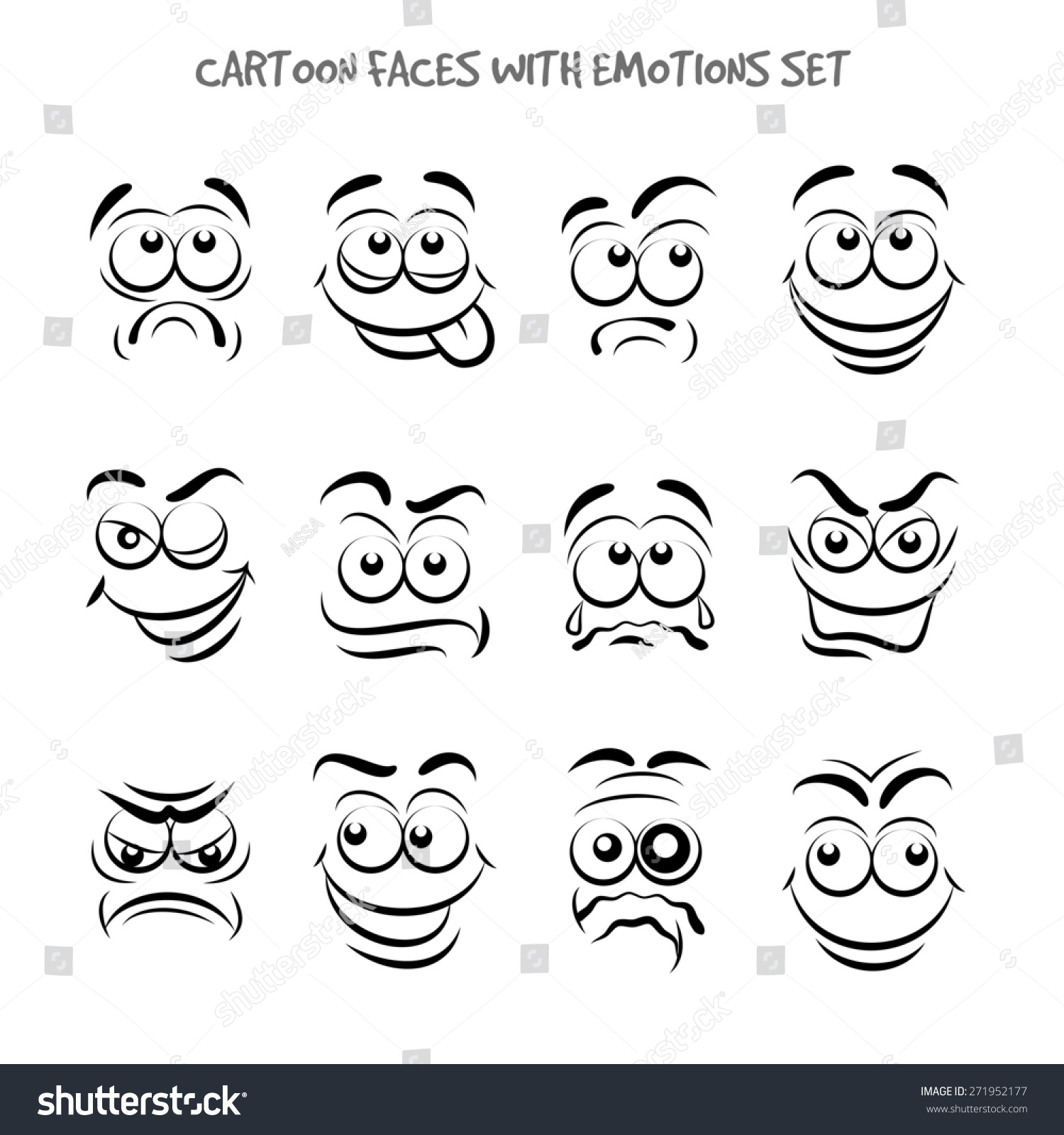 Cartoon Faces With Emotions Set Stock Photo