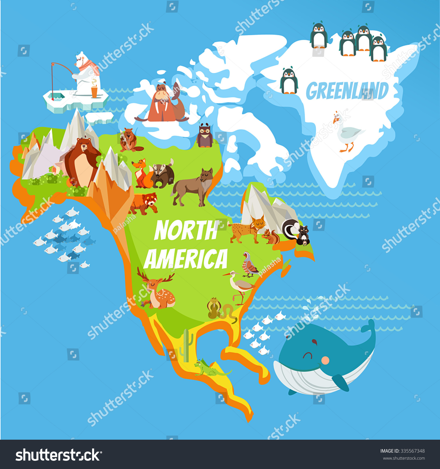 Cartoon Map Of North America Continent Stock Photo