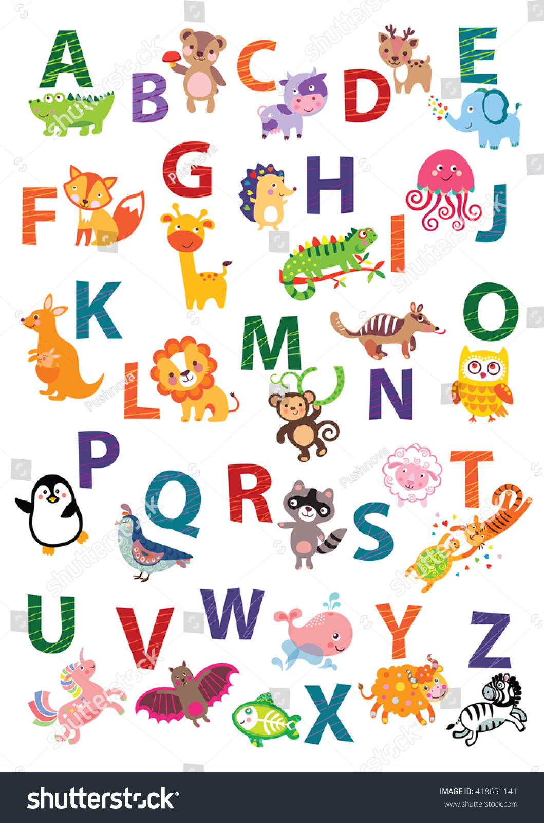 Cute Animal Alphabet English Alphabet Stock Photo