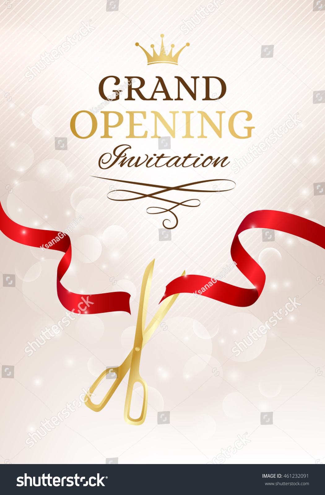 grand opening invitation card with cut