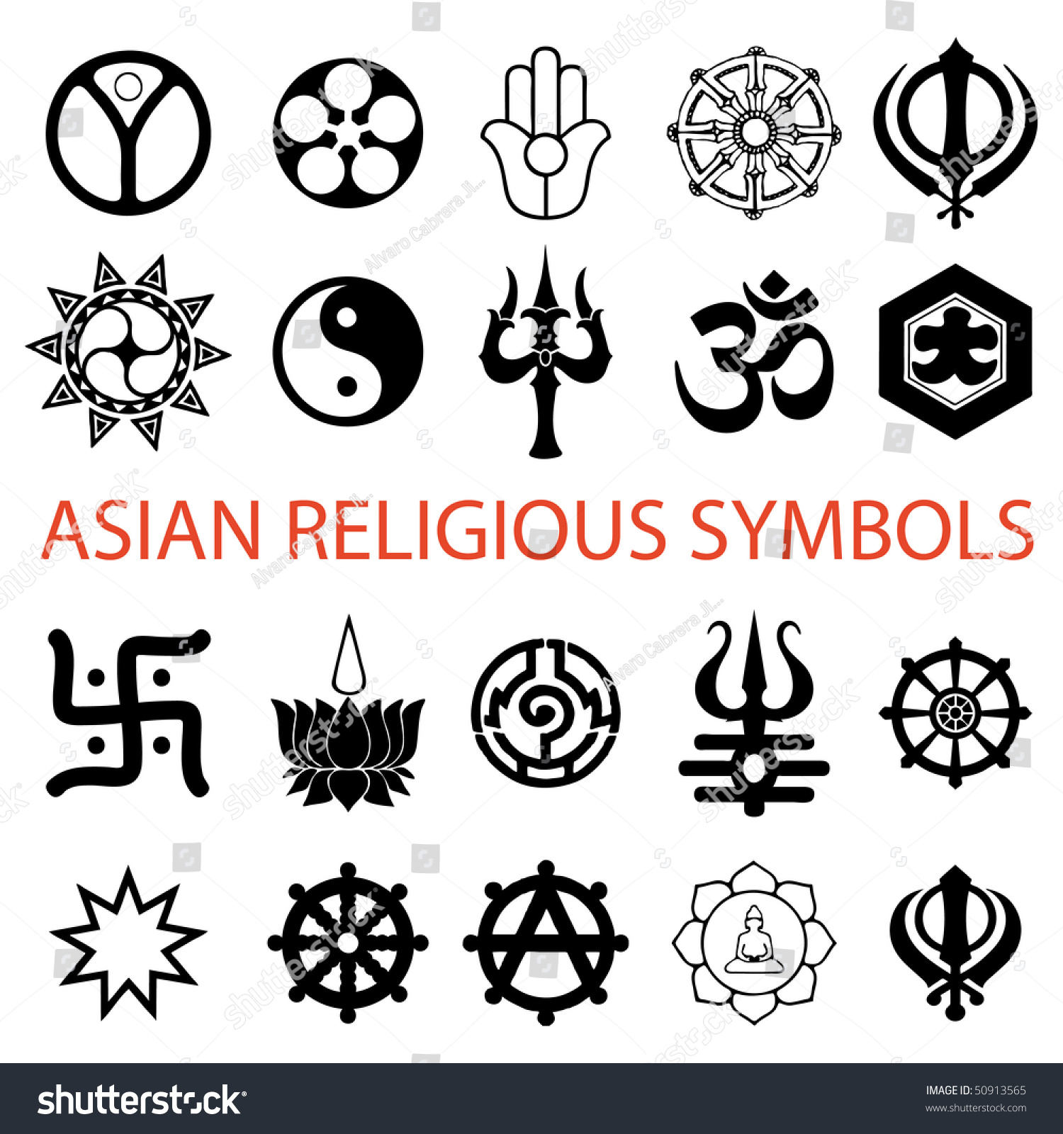 Vector Various Religious Symbols Asian Stock Photo