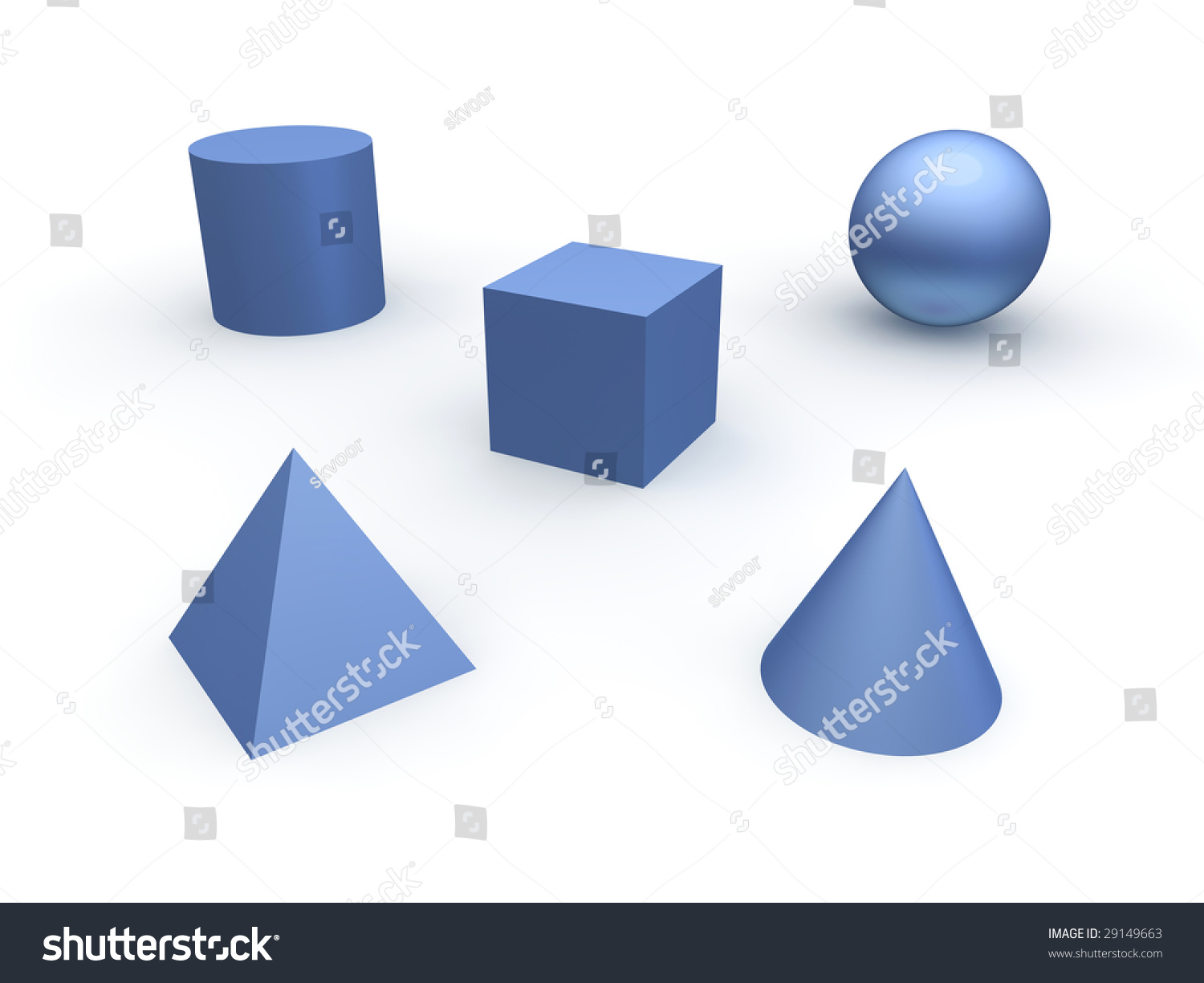 3d Basic Objects Sphere Cube Cone Stock Illustration