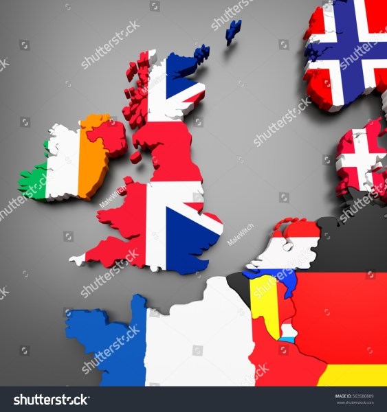 3 D Illustration Northwestern European Countries Map Stock     3D illustration of north western european countries map