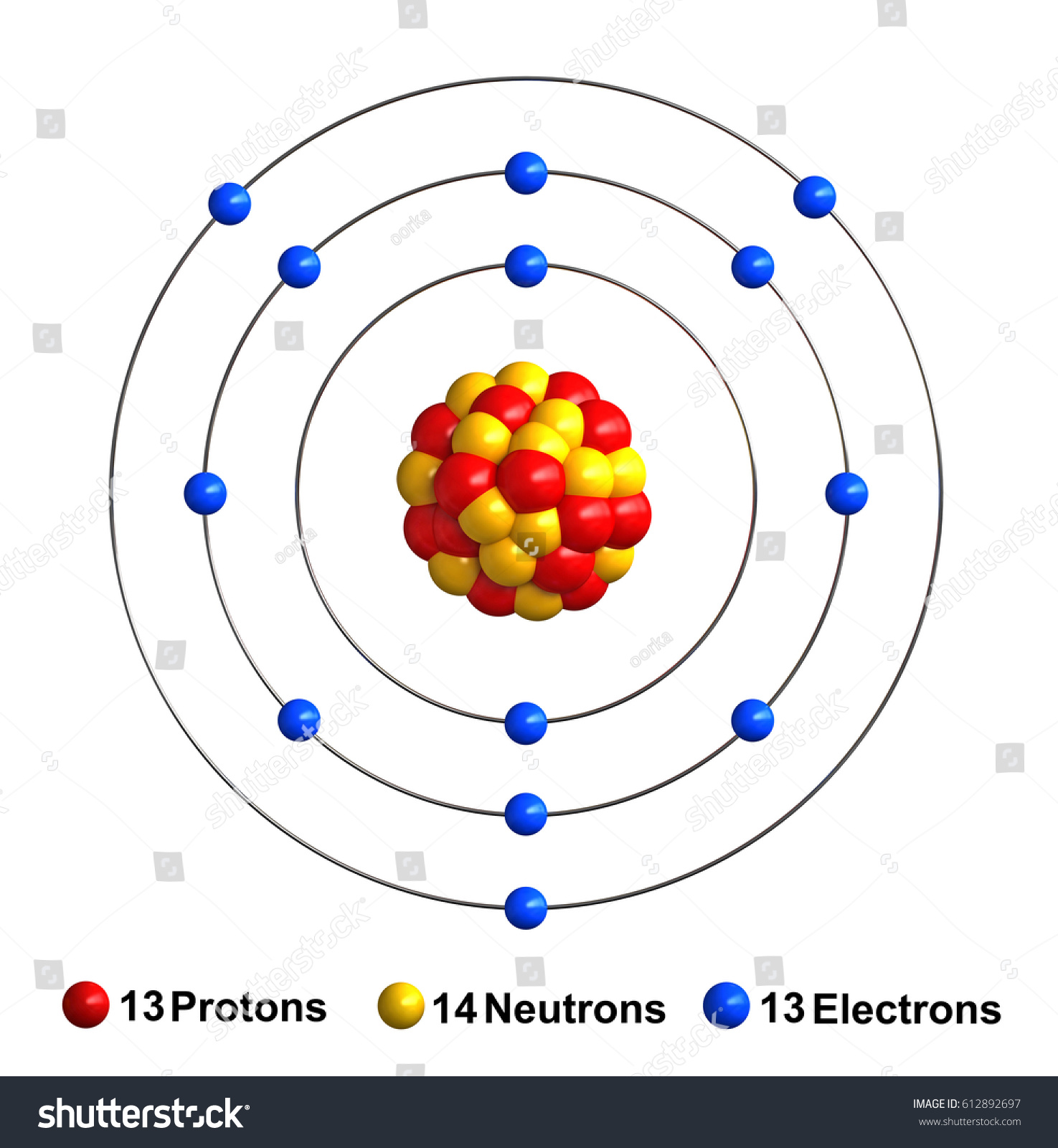 3d Render Atom Structure Aluminum Isolated Stock Illustration