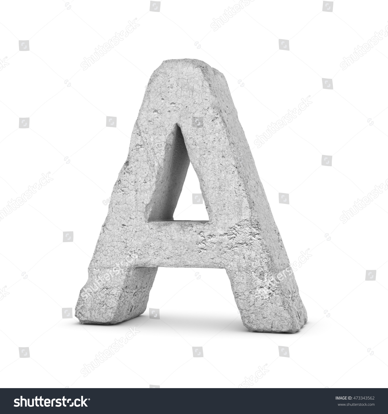 3d Rendering Concrete Letter Isolated On Stock