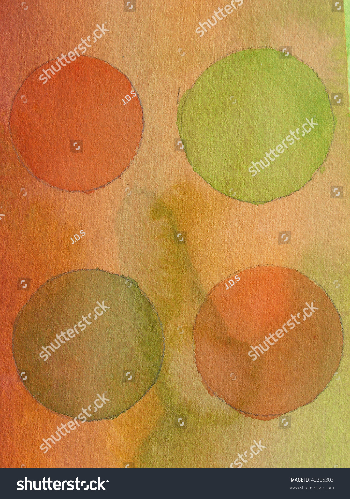 Green Orange Abstract Watercolor Background Circles Stock