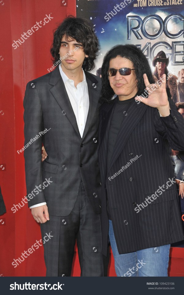 """Kiss"" Star Gene Simmons & Son Nick Simmons At The World ..."