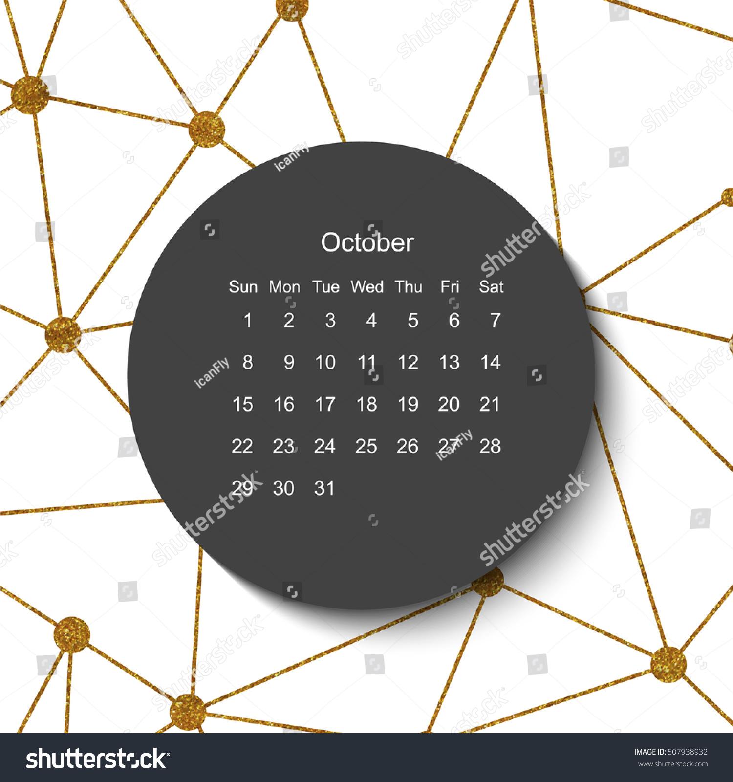 October Calendar Modern Creative Geometric Stock