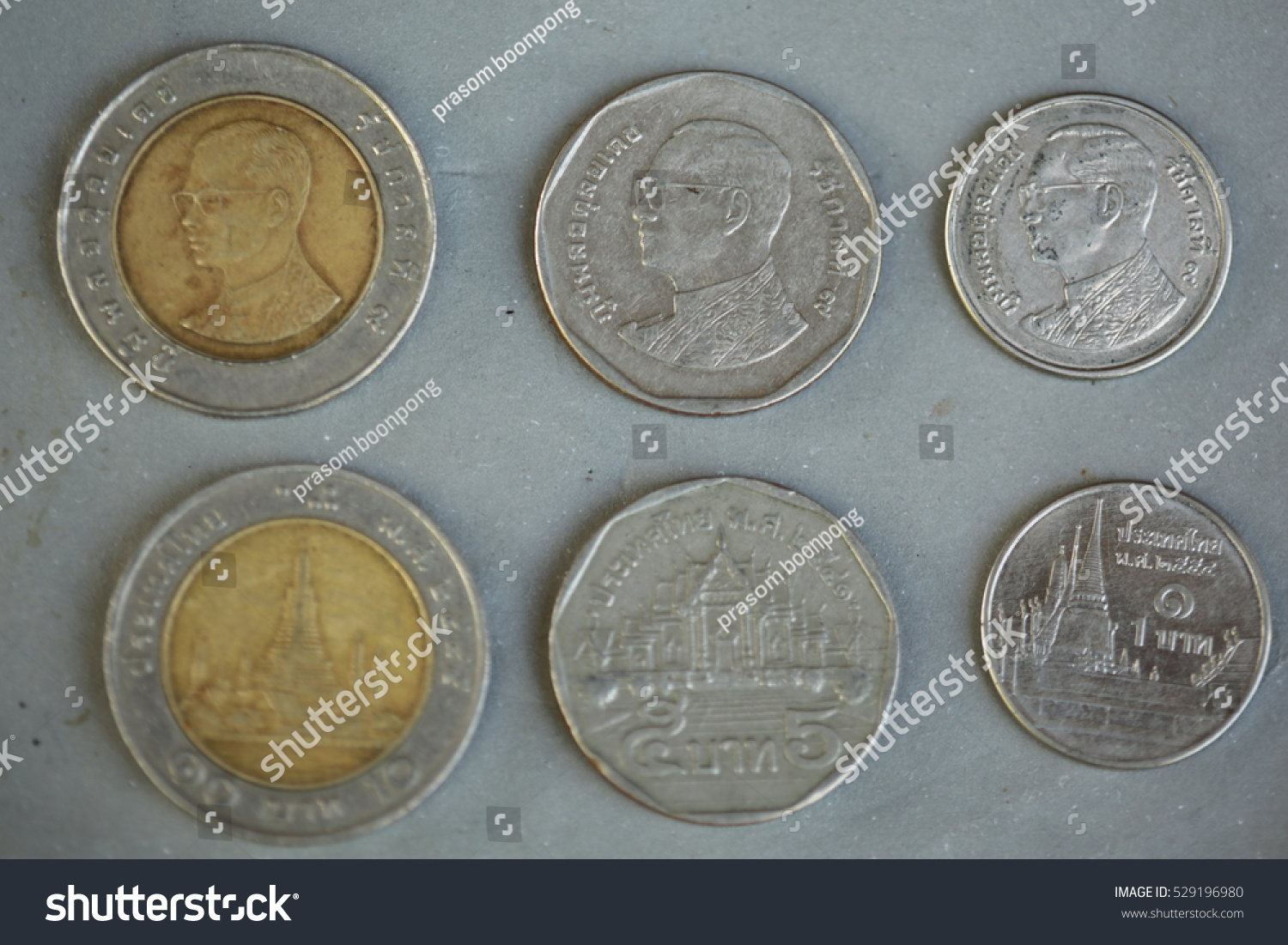 Thai Baht Silver Coins Front Back Stock Photo