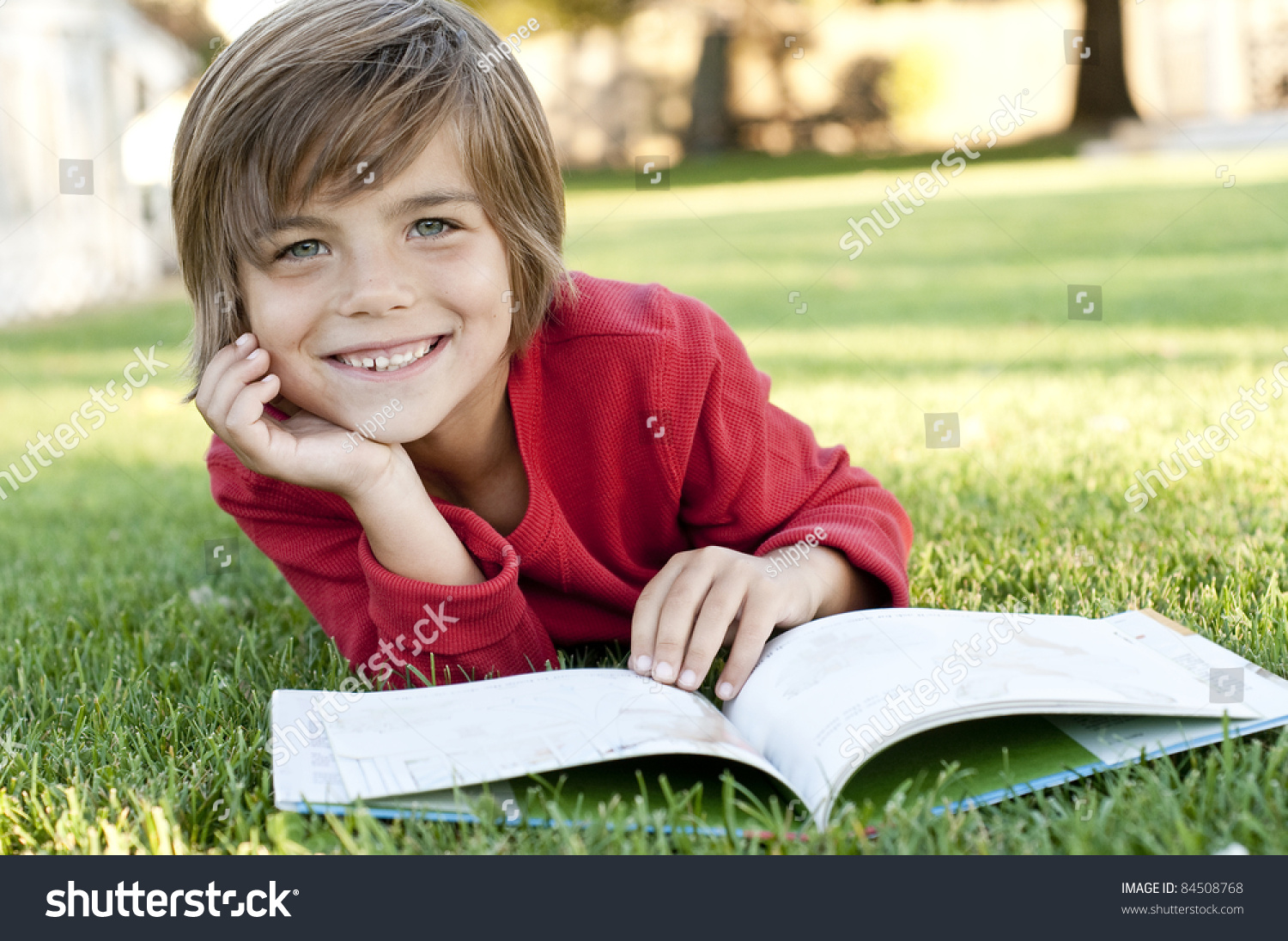 Very Cute 7 Year Old Boy Stock Photo