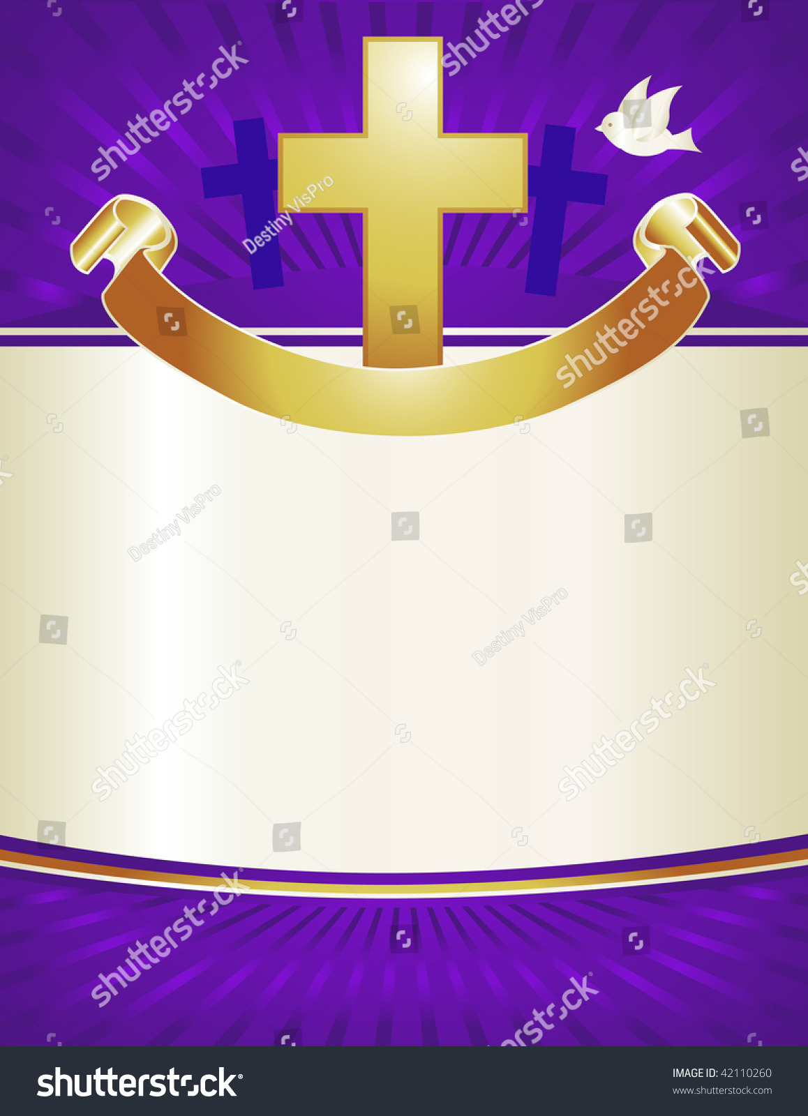 A Gold Cross And Dove With Banner Adorns This Royal Purple Background Perfect For Christmas Or