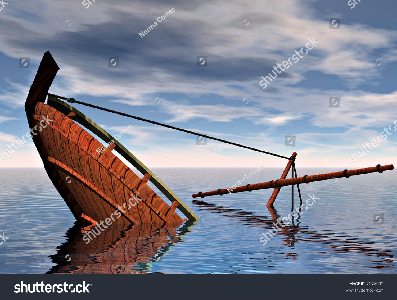 Ship Sinking Into Ocean Symbolic Concepts Stock