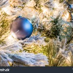 Solid Blue Christmas Ornament Hanging Flocked Stock Photo Edit Now 1228912459