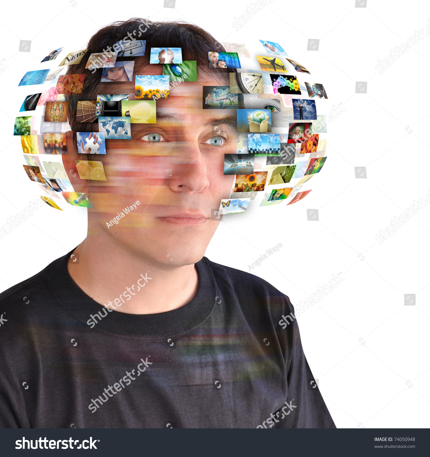 A Technology Man Has Images Around His Head Use It For A