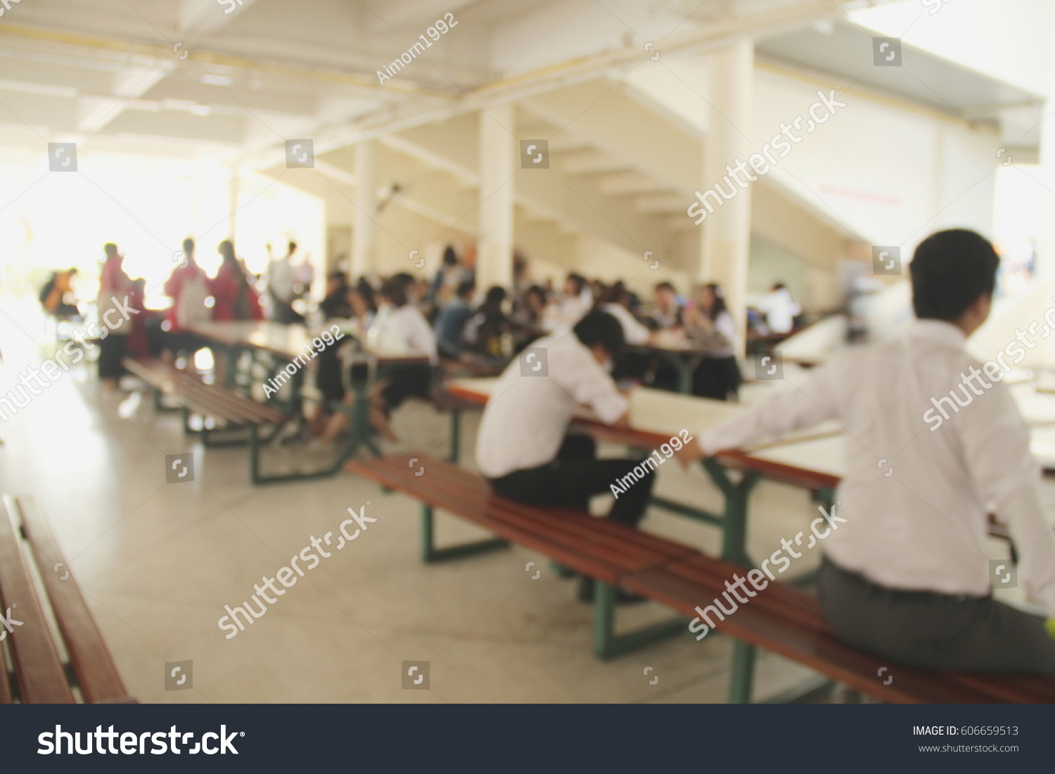 Abstract Blur Background Students Do Homework Stock Photo