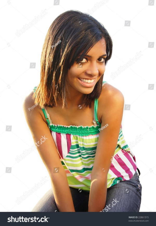 African American Teen Beautiful Smile Isolated Stock Photo ...