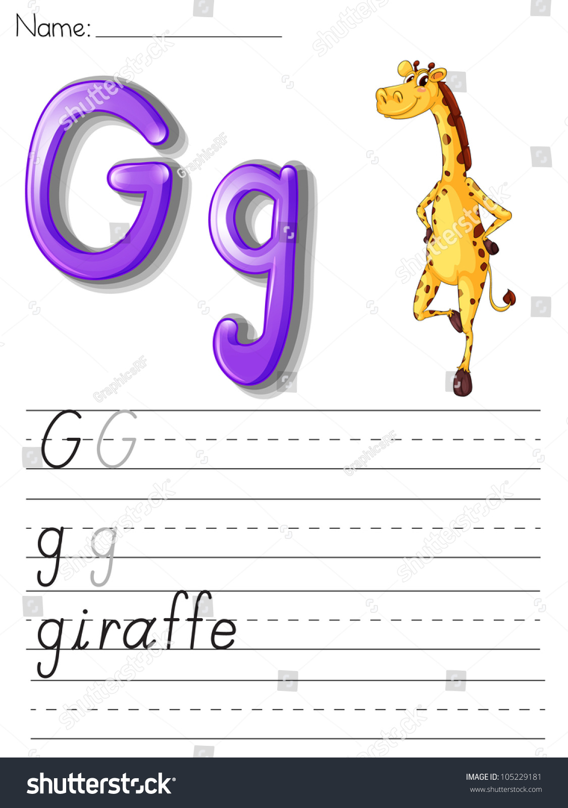 Alphabet Worksheet On White Paper Eps Stock Illustration