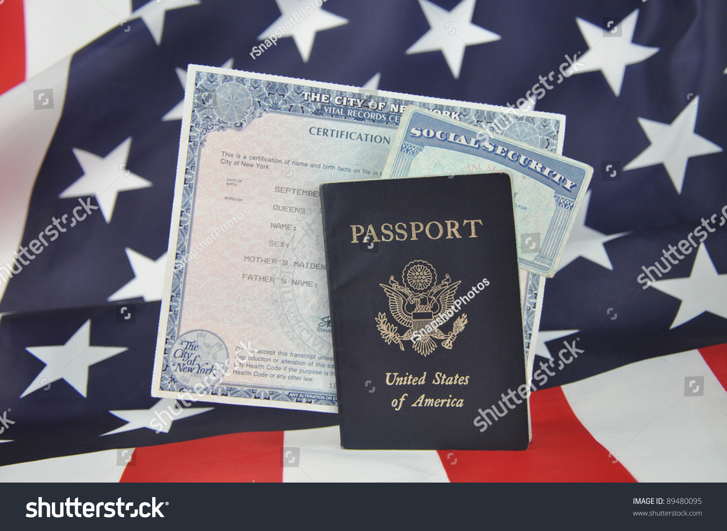 American Id Documents Passport Birth Certificate Stock