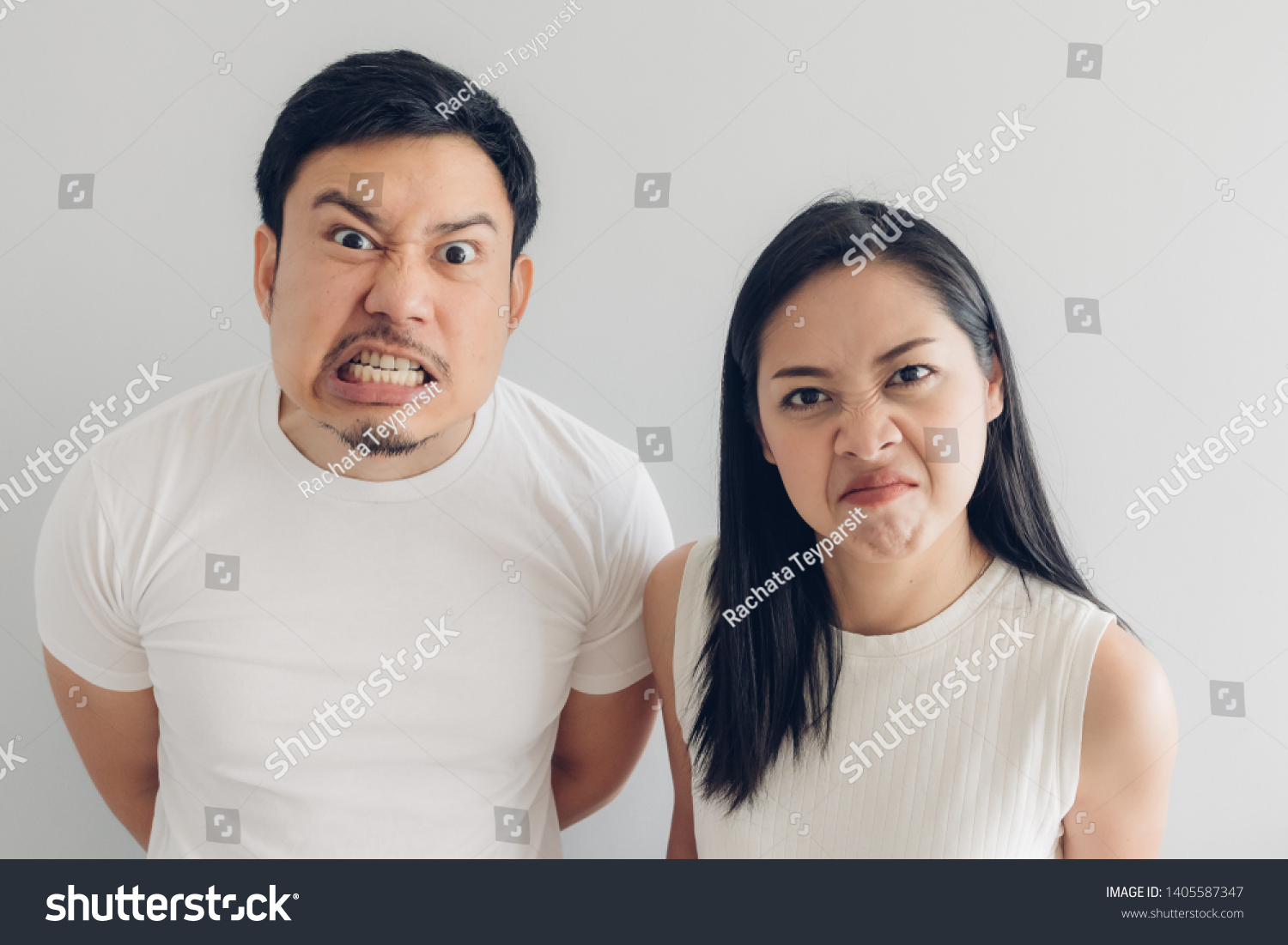 Angry Asian Couple Lover White Tshirt Stock Photo Edit Now 1405587347