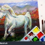 Art Painting Acrylic White Horse Stock Photo Edit Now 1393722647