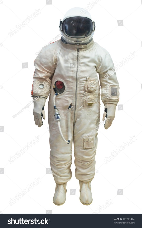 Astronaut In A Spacesuit Under The White Background Stock ...