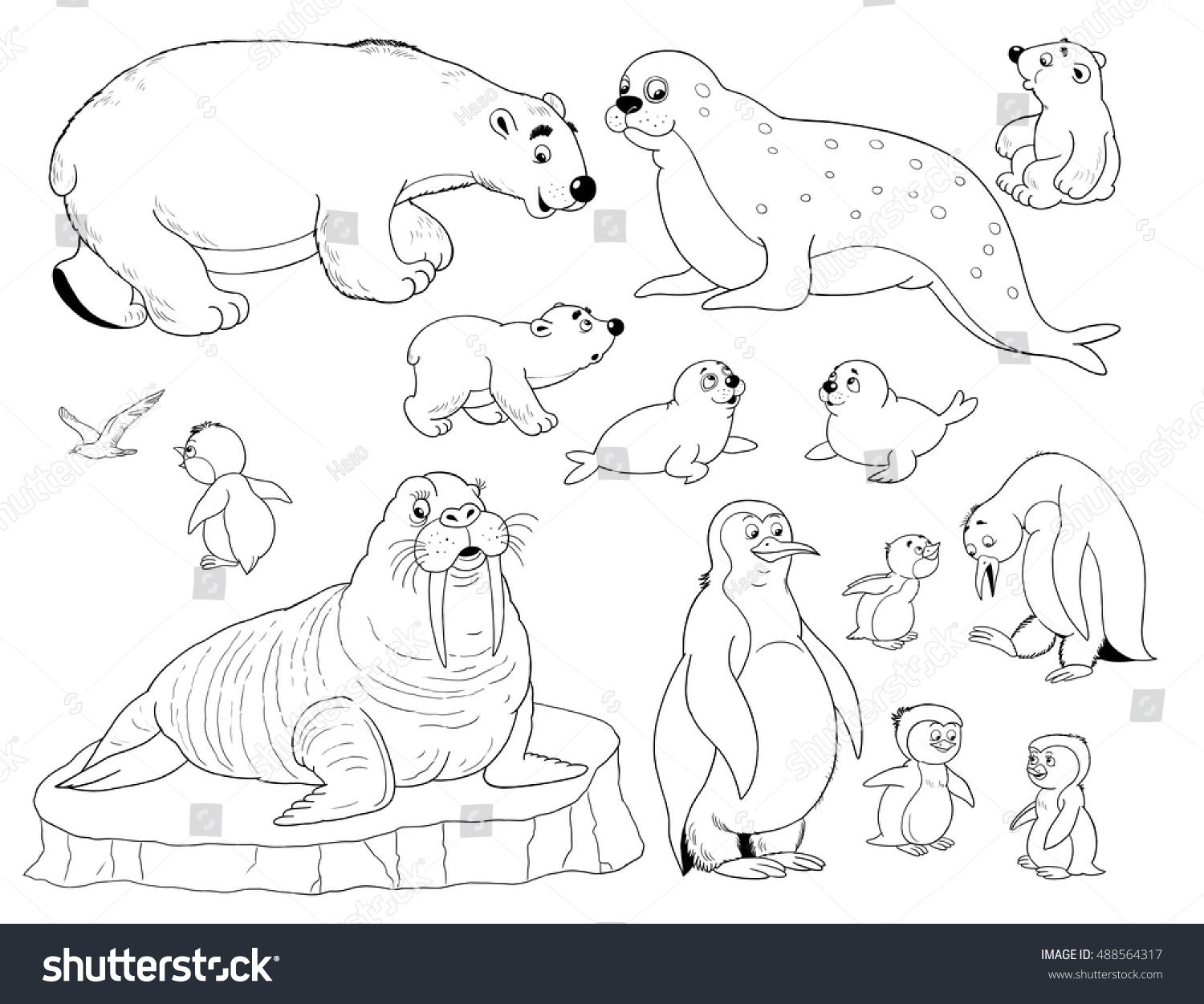 Zoo Small Set Cute Arctic Animals Stock Illustration