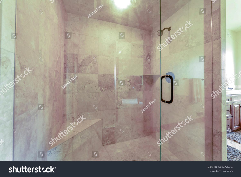 Bathroom Shower Stall Glass Door Gray Buildings Landmarks
