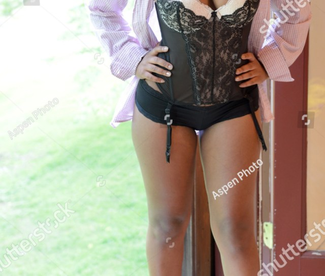 Beautiful African American Woman In Mens Shirt And Lingerie Black And White Bustier And