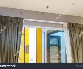 Beautiful Curtains Ringtop Rail Curtain Interior Buildings Landmarks Stock Image 1330681700