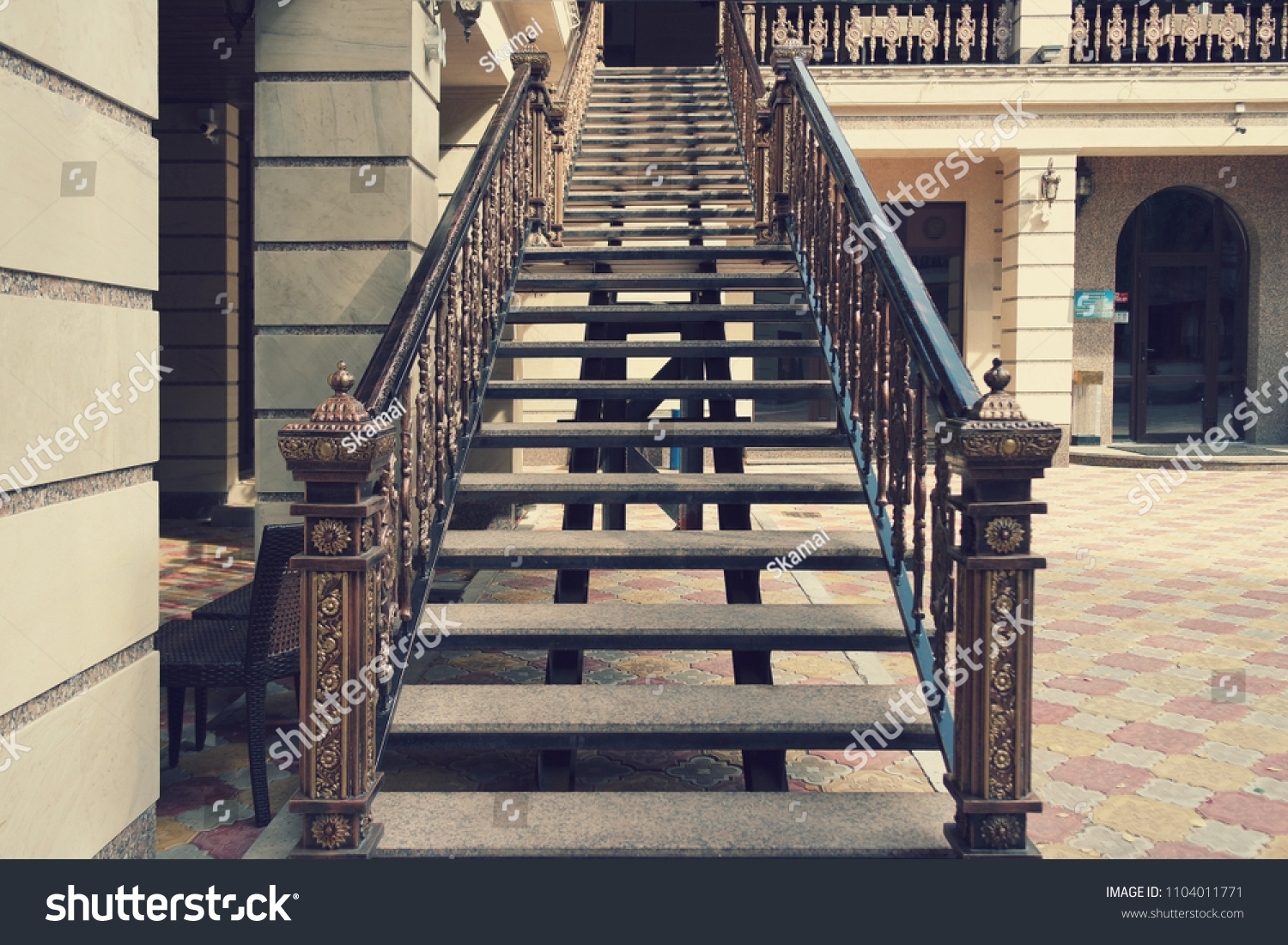 Beautiful Massacre Staircase Second Floor Outside Stock Photo | Outside Stairs To Second Floor | Steel | Entrance | Staircase | Patio | Deck