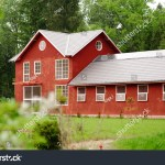 Beautiful Red Horse Barn Among Green Stock Photo Edit Now 268785203