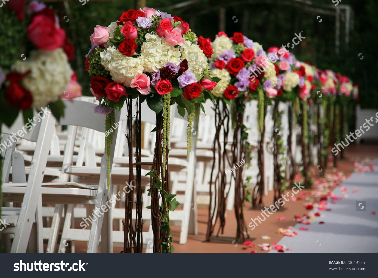 Beautiful Wedding Flower Arrangement Seats Along Stock