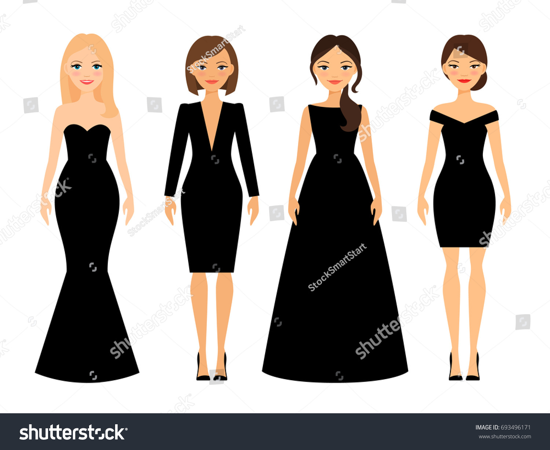 Beautiful Women Different Style Black Dresses Stock