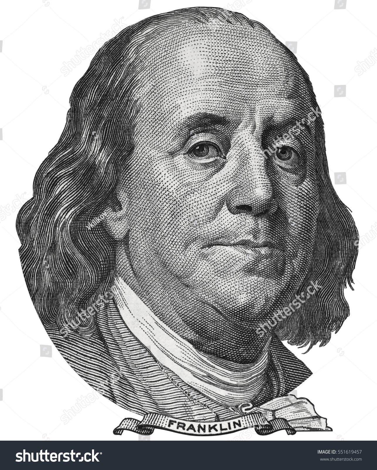 Benjamin Ben Franklin Face On Us Stock Photo