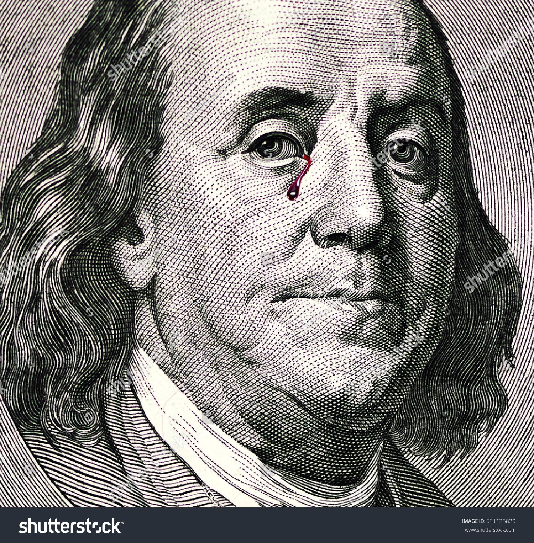 Benjamin Franklin Portrait On One Hundred Stock Photo