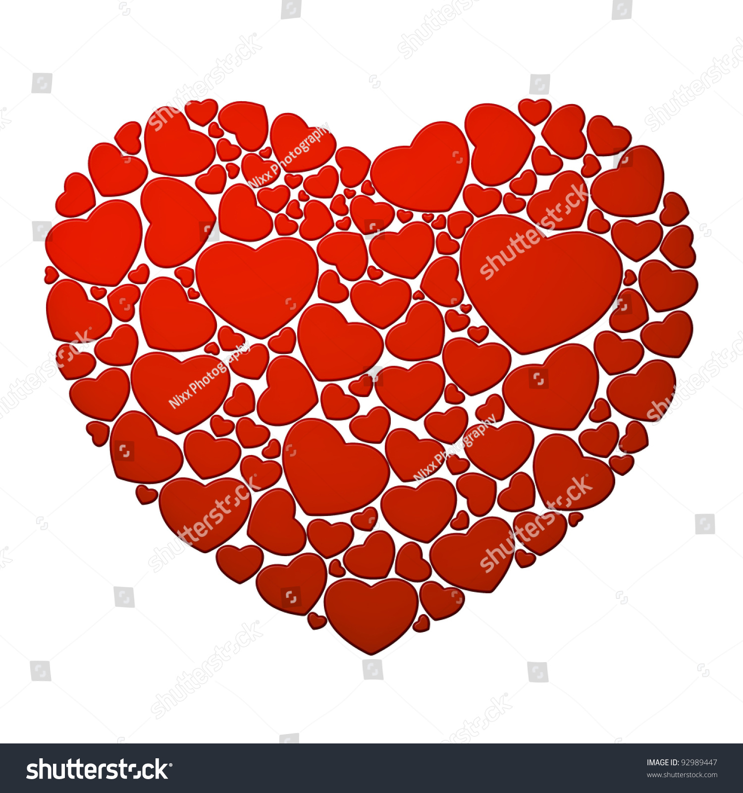 Big Heart Composed Small Red Hearts Stock Illustration