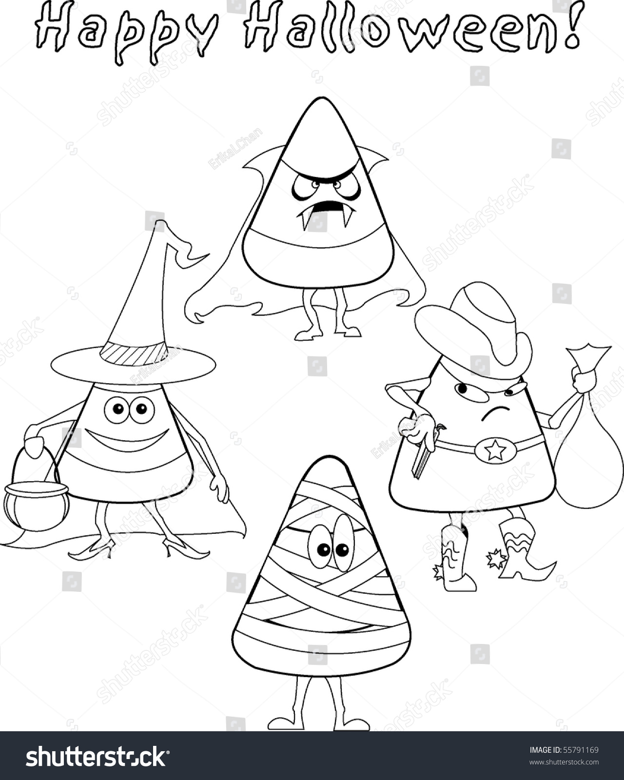 Black And White Kids Halloween Candy Corn Coloring Sheet