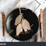 Black Plate Gold Cutlery On Linen Stock Photo Edit Now 1479419966